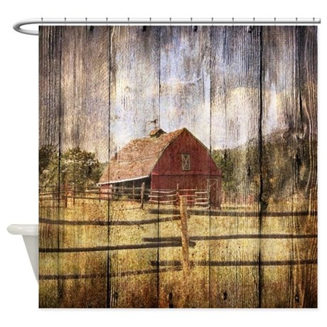 Western Country Red Barn Shower Curtain By Listing Store