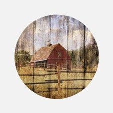 western country red barn Button