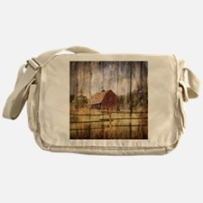 western country red barn Messenger Bag