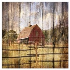 western country red barn Poster
