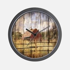western country red barn Wall Clock