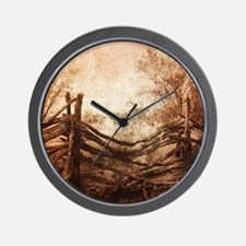 rural landscape fence farm Wall Clock