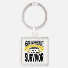 Childhood Cancer Strength Square Keychain