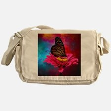 turquoise pink girly butterfly Messenger Bag
