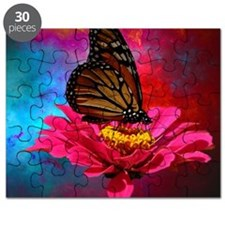 turquoise pink girly butterfly Puzzle