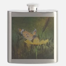 spring daisy yellow butterfly Flask