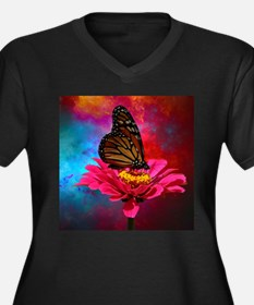 turquoise pink girly butterfly Plus Size T-Shirt