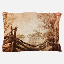 rural landscape fence farm Pillow Case