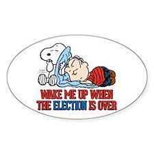 Snoopy - Wake Me Up Sticker (Oval)