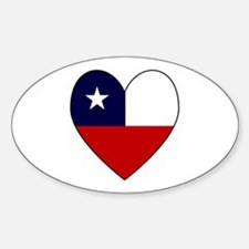 Chilean Flag Heart Oval Decal