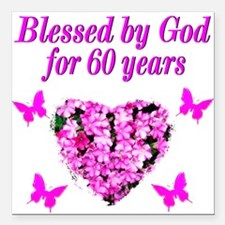 """60TH BLESSING Square Car Magnet 3"""" x 3"""""""