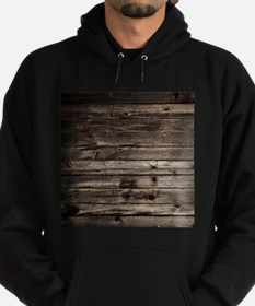 rustic primitive grey barn wood Hoodie (dark)