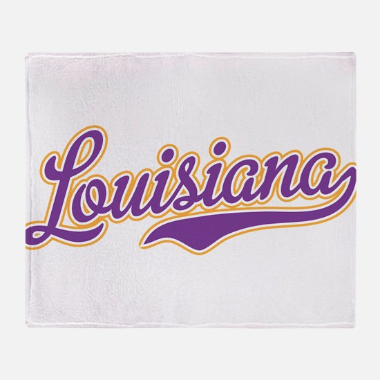 Louisiana Royal Purple and Gold-01 Throw Blanket