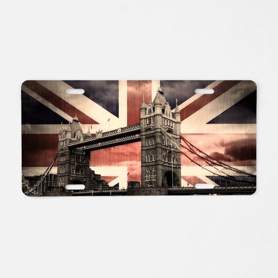 Union Jack London Aluminum License Plate