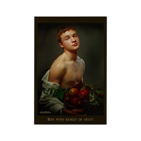Boy With Basket Of Fruit Rectangle Magnet