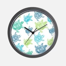 Blue and Green Turtles Wall Clock