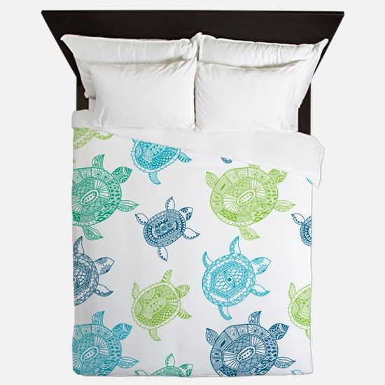 Blue and Green Turtles Queen Duvet