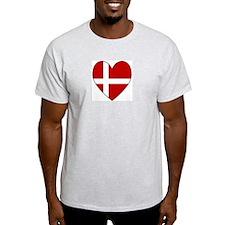 Danish Flag Heart Ash Grey T-Shirt