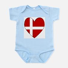 Danish Flag Heart Infant Creeper