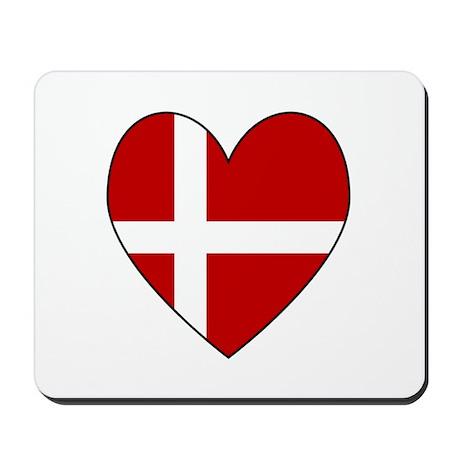 Danish Flag Heart Mousepad