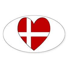 Danish Flag Heart Oval Decal