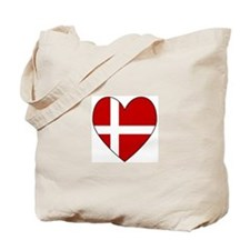 Danish Flag Heart Tote Bag