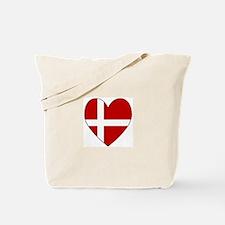 Danish Flag Heart Tote Bag