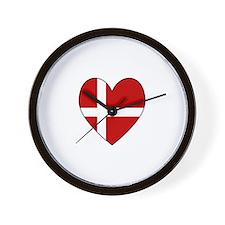Danish Flag Heart Wall Clock