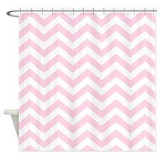Baby Girl Pink Chevron Pattern Shower Curtain