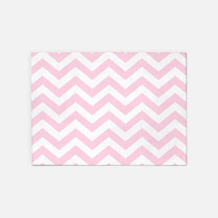 Baby Girl Pink Chevron Pattern 5'x7'Area Rug