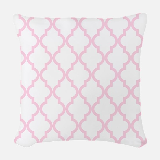 Pink, Baby: Quatrefoil Morocca Woven Throw Pillow