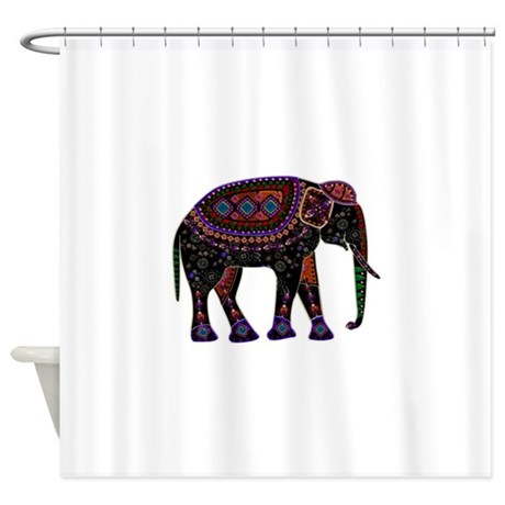 tribal metallic elephant shower curtain