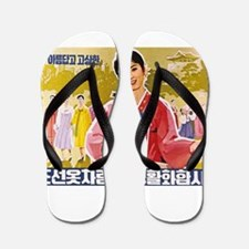 Korean Ladies Wearing Hanbok Flip Flops