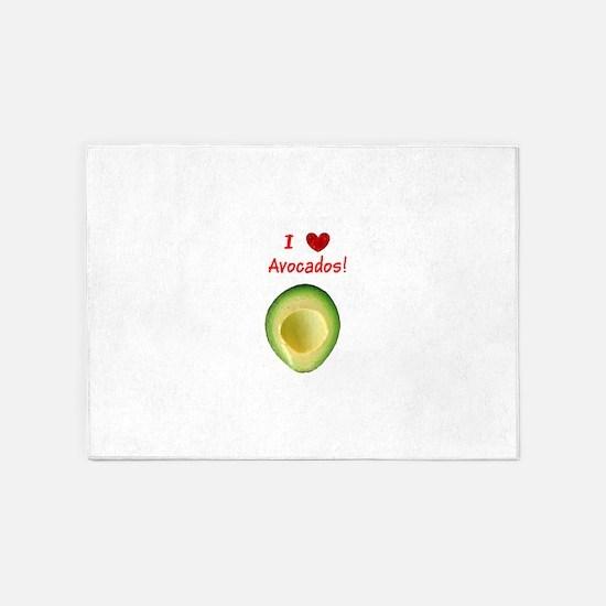 I Love Heart Avocados Guillermo's 5'x7'Area Rug