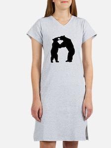 Bears Fighting Silhouette Women's Nightshirt