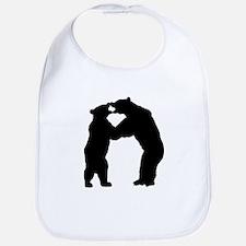 Bears Fighting Silhouette Bib