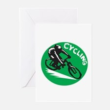 Cyclist Riding Bicycle Cycling Circle Woodcut Gree