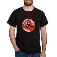 Handball Player Jump Striking Circle Woodcut T-Shi
