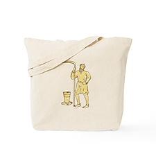 Medieval Farmer Holding Scythe Etching Tote Bag