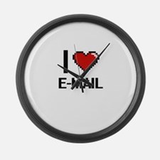 I love E-MAIL Large Wall Clock