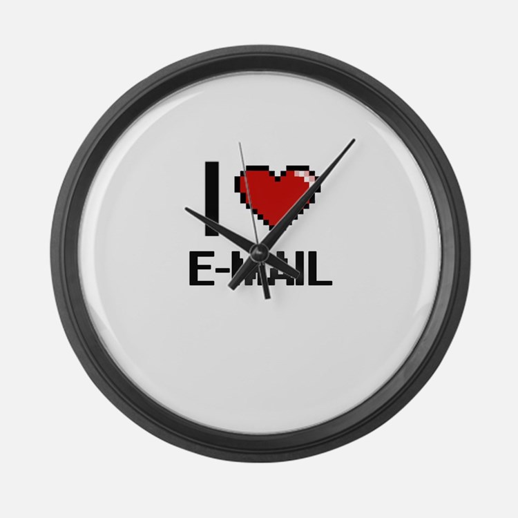 I love E-MAIL Large Wall Clock