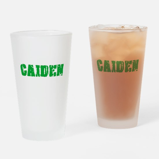 Caiden Name Weathered Green Design Drinking Glass