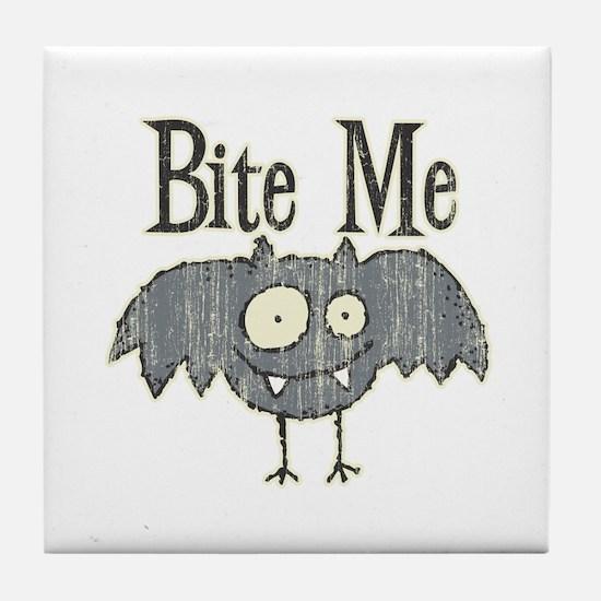 Bite Me Bat Design Tile Coaster