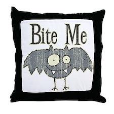 Bite Me Bat Design Throw Pillow