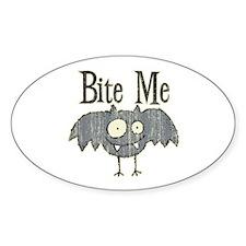 Bite Me Bat Design Oval Decal