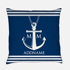 Navy Blue And White Nautical Boat Everyday Pillow