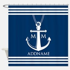 Navy Blue And White Nautical Boat A Shower Curtain
