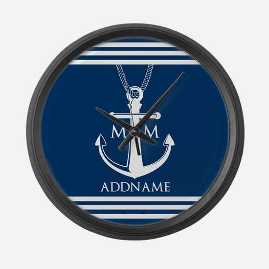 Navy Blue And White Nautical Boat Large Wall Clock