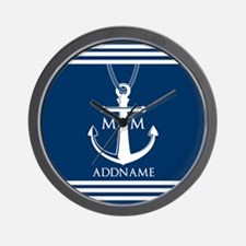 Navy Blue And White Nautical Boat Ancho Wall Clock