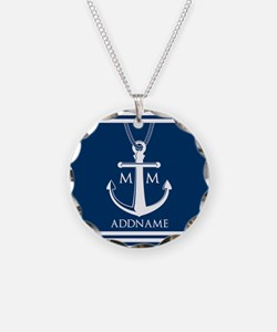 Navy Blue And White Nautical Necklace